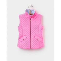 Joules Junior Silvan Girls Quilted Gilet Neon Pink Rose
