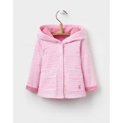 Joules Baby Cuddle Girls Hooded Jersey Jacket Neon Pink Rose Stripe