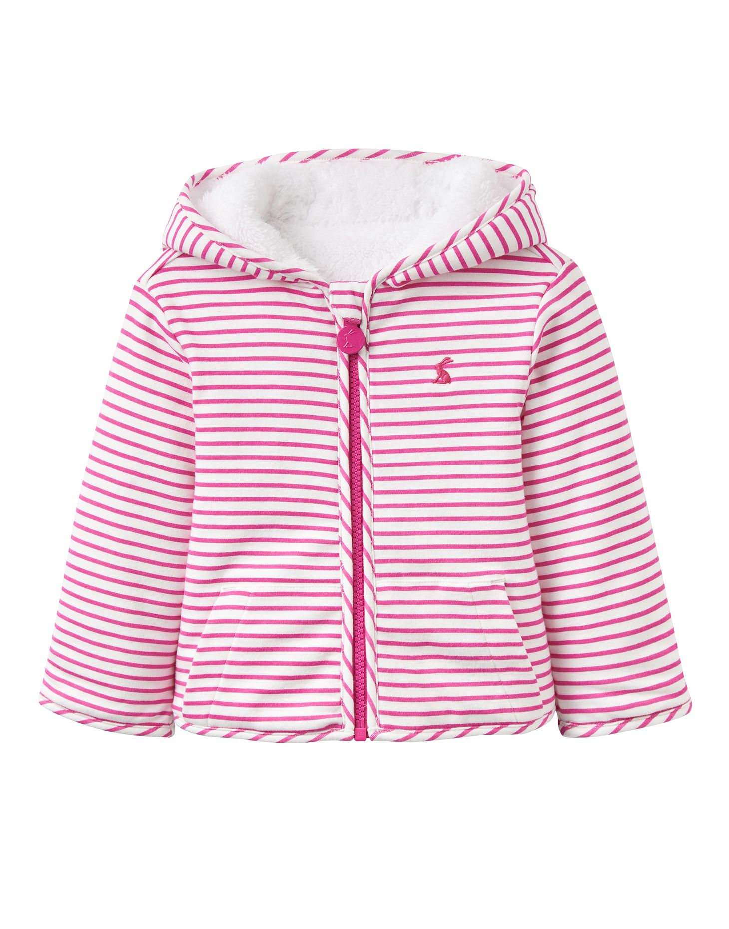 Joules Baby Girls Cosette Pink Orange Striped Zip Reversible Sweatshirt Jacket