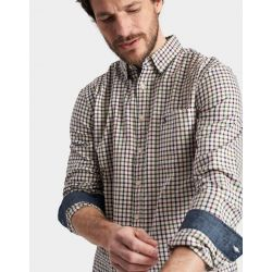 Joules Wilby Mens Classic Fit Shirt Antique Creme Multi Check