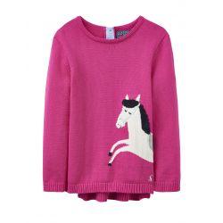Joules Baby Winnie Girls Intarsia Jumper True Pink Horse