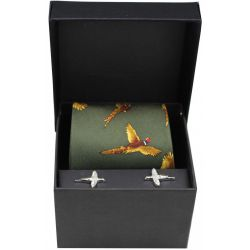 Soprano Green Flying Pheasants Silk Tie And Cufflink Set