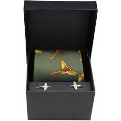 Soprano Green Flying Pheasants Silk Tie And Cufflink Set