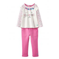 Joules Baby Amalie Girls Two Piece Set Festival Spot Cat