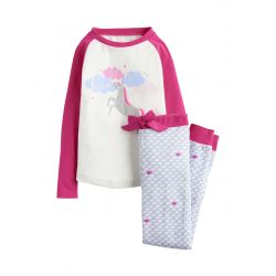 Joules Junior Sleepwell Girls Long Sleeve Pyjamas Cream Unicorn