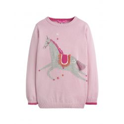Joules Junior Meryl Girls Jumper Dusk Pink Unicorns