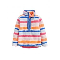 Joules Junior Merridie Girls Fluffy Fleece Sweatshirt Pink Multi Stripe
