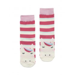Joules Neat Feet Girls Character Socks Bright Pink Stripe Horse