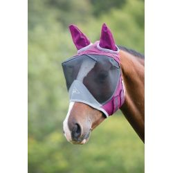 Shires Deluxe Fly Mask With Ears Burgundy