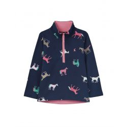 Joules Girls Fairdale Half Zip Sweatshirt Navy Horses