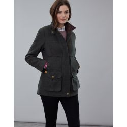 Joules Fieldcoat Ladies Tweed Coat Dark Green Tweed