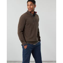 Joules Hillside Mens 1/4 Zip Funnel Neck Jumper Brown Melange
