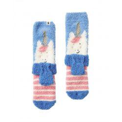 Joules Girls Fluffy Fluffy Character Socks Pink Stripe Unicorn