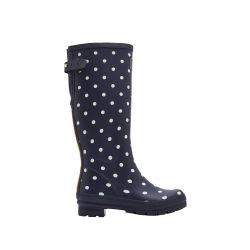 Joules Ladies Printed Wellies With Adjustable Back Gusset French Navy Spot