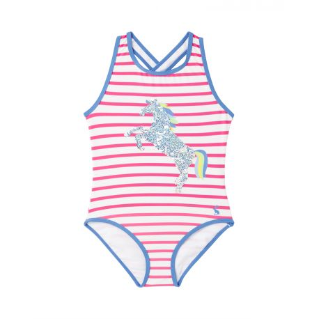 Joules Briony Luxe Applique Girls 1 Piece Swimsuit Pink Stripe Horse