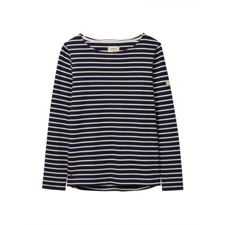 Joules Harbour Ladies Long Sleeve Jersey Top Navy Cream Stripe