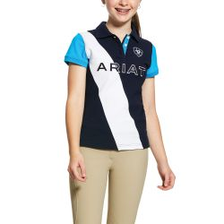 Ariat Taryn Girls Polo Shirt Navy Nautilus