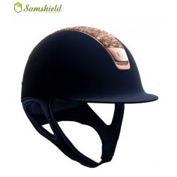 Samshield Shadowmatt Hat Rose Gold Crystal Fabric Top Rose Gold Trim