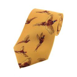Soprano Flying Pheasants On Mustard Ground Silk Tie