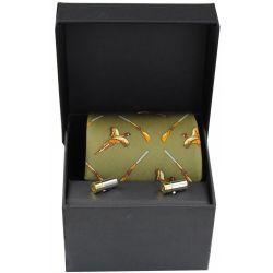 Soprano Green Wood Shotgun Pheasant Silk Tie And Cufflinks Gift Set
