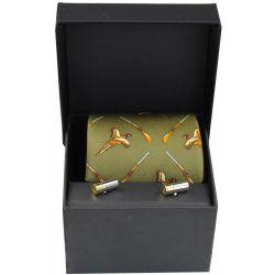 Soprano Green Wood Shotgun Pheasant Silk Tie And Cufflinks Gift Set