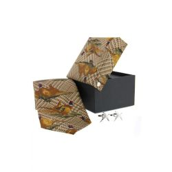 Soprano Tweed Green Pheasant Silk Tie And Cufflinks Gift Set