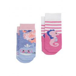 Joules Baby Neat Feet Girls Bamboo Socks Two Pack Coastal