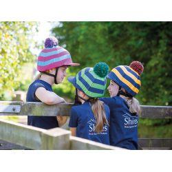 Shires Pom Pom Hat Cover With Stripes