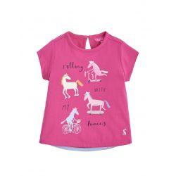 Joules Junior Pixie Girls Screenprint T Shirt True Pink Ponies