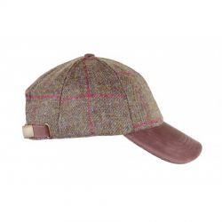 Heather Tyndrum Tweed Leather Peak Baseball Cap Brown Red Check