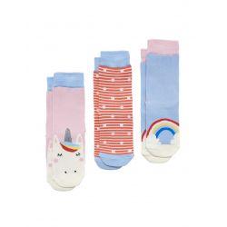 Joules Junior Brilliant Bamboo Girls Socks Three Pack Pink Unicorn