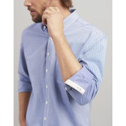 Joules Hewney Mens Classic Fit Peached Poplin Shirt Blue White Gingham