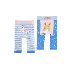 Joules Lively Baby Girls Two Pack Character Leggings Blue Unicorn Horse