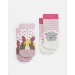Joules Neat Feet Baby Girls Two Pack Character Socks Pink Horse Sheep