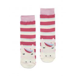Joules Neat Feet Girls Character Socks Bright Pink Stripe Horse