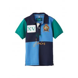 Joules Boys Harry Cut And Sew Embelished Polo Shirt French Navy