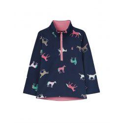 Joules Girls Fairdale Half Zip Sweatshirt Navy Horses
