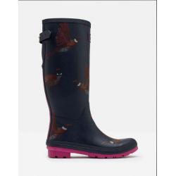Joules Welly Print Ladies Wellies With Adjustable Back Gusset Navy Birds