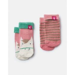 Joules Baby Girls Terry Two Pack Socks Pink Horse Stripe