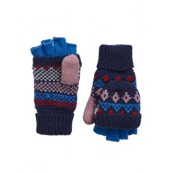 Joules Girls Fallbury Fairisle Gloves Navy Horse