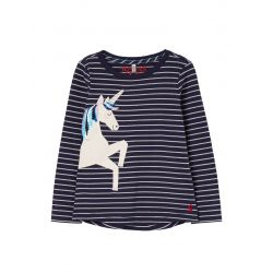 Joules Girls Ava Applique T Shirt Silver Stripe Unicorn
