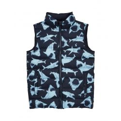Joules Boys Flip It Reversible Gilet Blue Shark