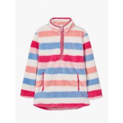 Joules Girls Ellie Half Zip Fleece Pink Multi Stripe