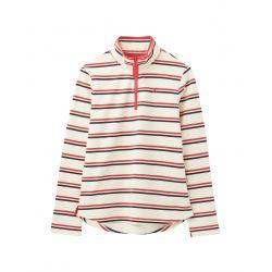 Joules Fairdale Ladies Sweatshirt With Zip Cream Red Blue Stripe
