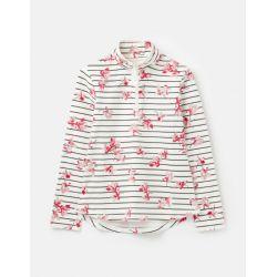 Joules Fairdale Print Ladies Sweatshirt With Zip Neck Grey Floral Stripe