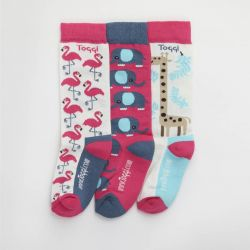 Toggi Shalden Girls Three Pack Socks Safari Design Pink