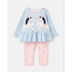 Joules Olivia Girls Applique Set Blue Unicorn