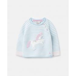 Joules Winnie Girls Knitted Jumper Blue Unicorn