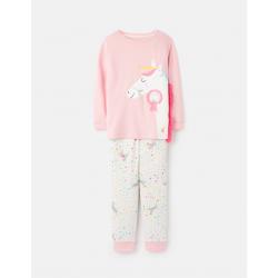 Joules Sleepwell Girls Pyjama Set Pink Horse