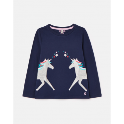 Joules Bessie Girls Screenprint Top Navy Unicorn